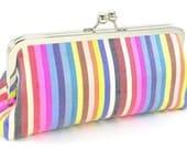 Clutch Evening Bag Silk Striped Multi-Colored Handmade Modern Handbag - Bagboy