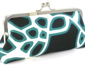 Modern Clutch Purse - Black White Teal Evening Bag - Metal Frame Handbag