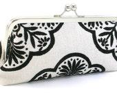 Black and White Evening Bag Clutch - Women's Metal Frame Handbag - Bagboy