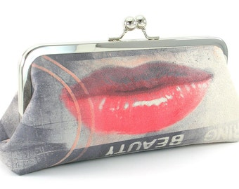 Grey Clutch Purse - Red Lips Gray Unique Modern Evening Bag - Handmade Women's Metal Frame Handbag
