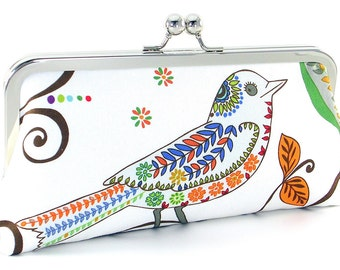 Bird Clutch Handbag Metal Frame Evening Bag