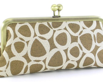 Modern Evening Bag Clutch - Metal Frame Purse - Geometric Handmade Women's Handbag