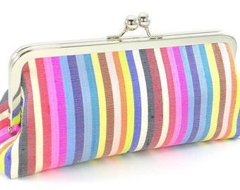 Clutch Evening Bag Silk Striped Multi-Colored Handmade Modern Handbag - Bagboy