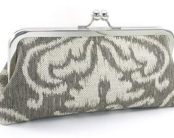 Ikat Clutch Handbag - Taupe Linen