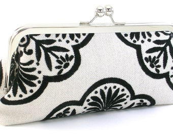Black and White Evening Bag Clutch - Women's Metal Frame Handbag - Bagboy