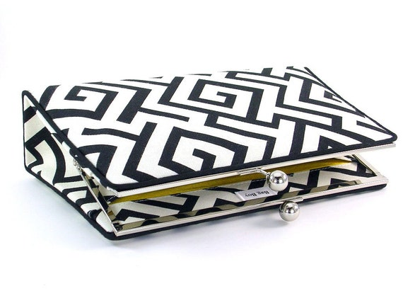 Black and White Clutch Handbag - Contemporary Geometric with silk lining