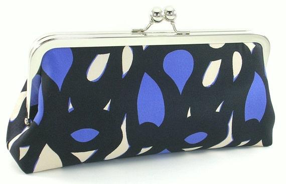 Blue and Black Silk Modern Clutch Bagboy