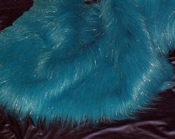 """Awesome Bright Blue 3+"""" Long Faux Fur with Lurex."""