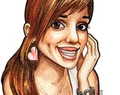 Custom CARTOON portrait of one person Illustration Portrait Drawing Markers Coloring Pencils 8x10 by Kate Holloman