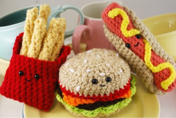 Amigurumi Fast Food : CROCHET PATTERN Amigurumi Fast Food Trio by youcute on Etsy