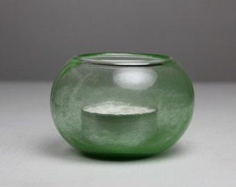 green blown glass votive candleholder