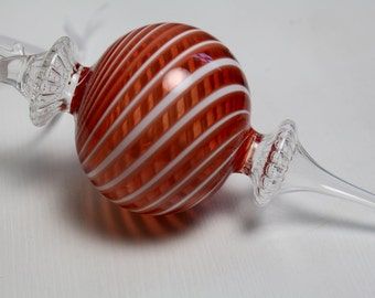 red and white swirled blown glass needle ornament