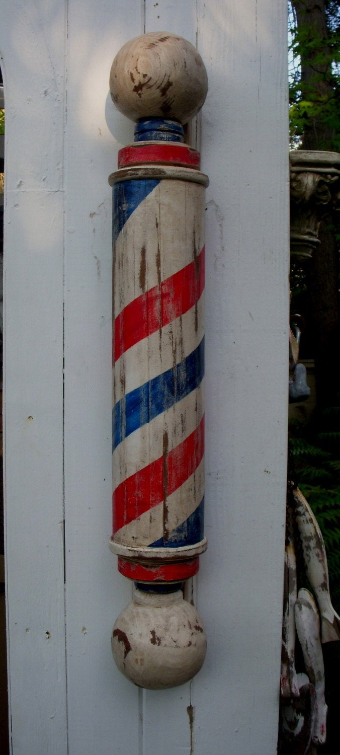 Mike's Original Barber Pole with Large Hand Carved Wooden