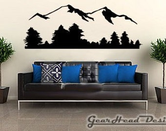 Mountain Wall Decal, Sticker.