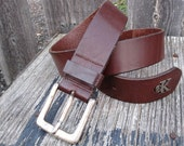 CLASSIC 90's Calvin Klein CK Chestnut Brown Leather BELT
