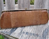 SOPHISTICATED Brown Genuine Lizard Skin 50s CLUTCH