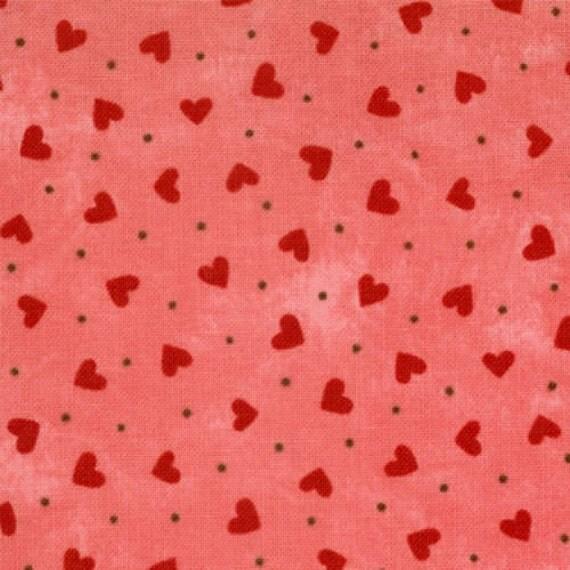 Sandy Gervais for Moda Lamour Little Rose Hearts fabric  - 1 yard destash