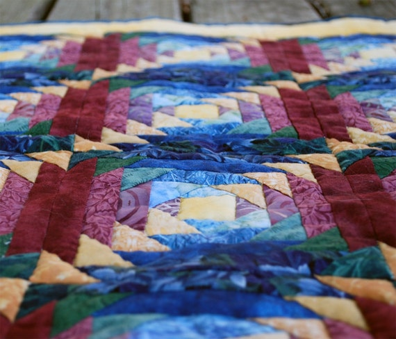 Quilt Wall Hanging Jewel Tone Pineapple By Quiltingmissdaisy