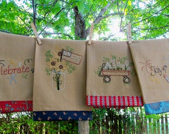 Pattern to Hand Embroider these Patriotic Tea Towels