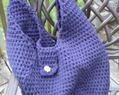Bag, Tote, Book Bag, Purple, Crocheted, Purple