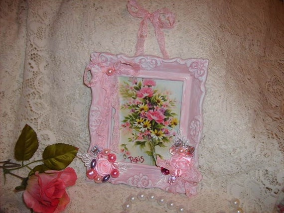 Pretty in Pink   Altered  Art  Shabby Sweet Picture Frame  So   Paris    Cottage Romantic
