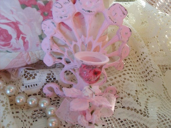SALE......Shabby Chic French Ornate  Pink Sconce   Pretty Roses   Marie Antoinette    Paris