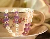 Birthstone bracelet- June: Alexandrite with pearls