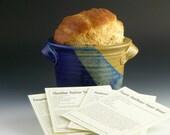 Bread baker / Bread Bowl w/ recipe cards - Blue & tan