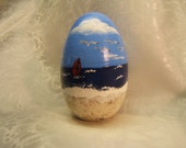 SALE Hand painted wood egg (Beach)