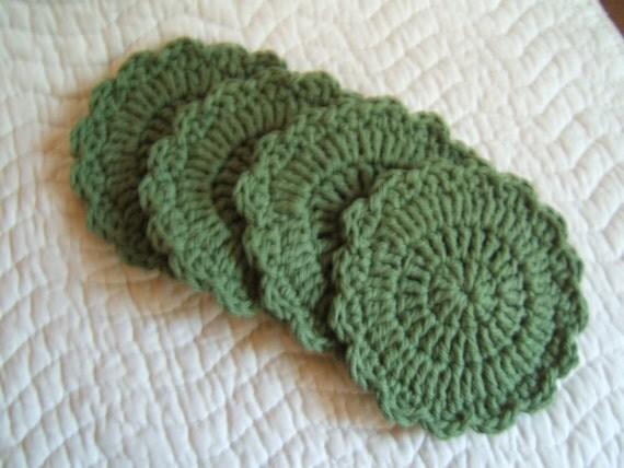 SALE Green crochet coasters (4)