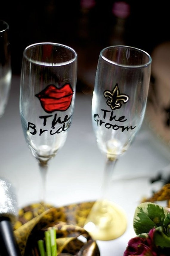The Bride and The Groom Lips or Fleur de Lis custom champagne flutes