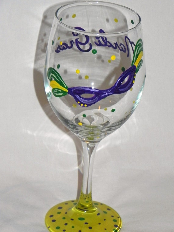 Mardi Gras Mask Painted Glasses NewPainted Wineglass New Orleans Louisiana