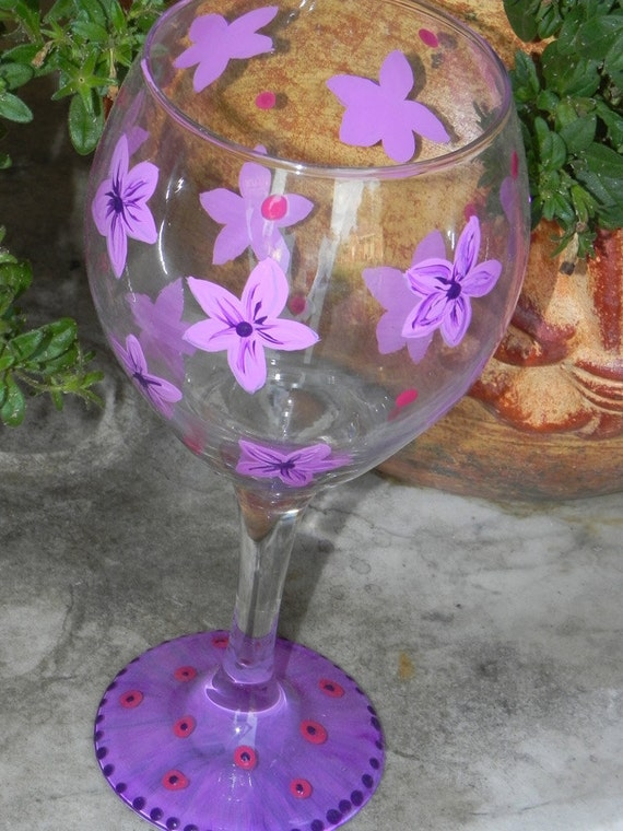 Tropical Flowers Painted Wine Glass