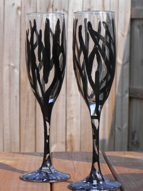 Zebra Stripe champagne flutes