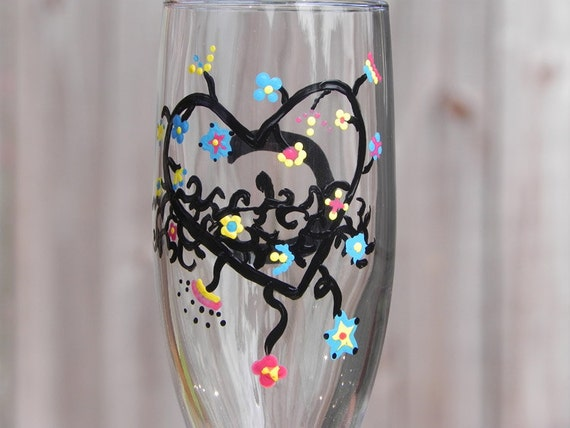 Crazy Heart champagne flutes