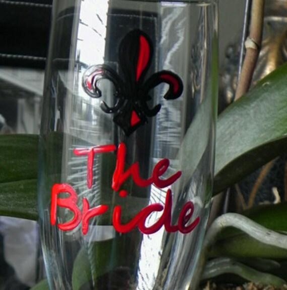 University Of Cincinnati Bearcats Wedding champagne flutes