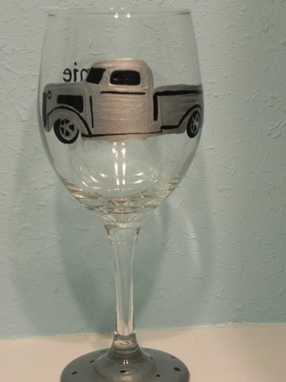 Antique Truck Wine Glass