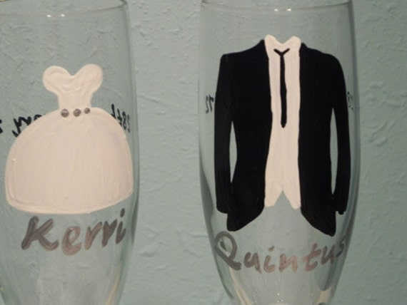 Custom Bride and Groom Champagne Flutes