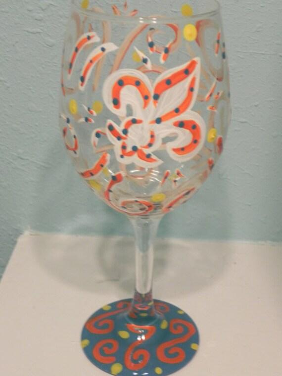 Fleur De Lis Wine Glass
