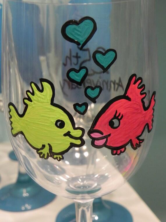 Custom Fish Anniversary Wine Glass