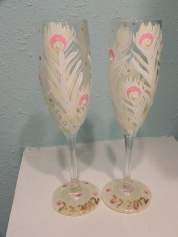 Albino Peacock champagne flutes
