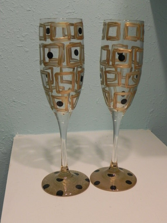 Abstract Squares- Painted Champagne flute Glass