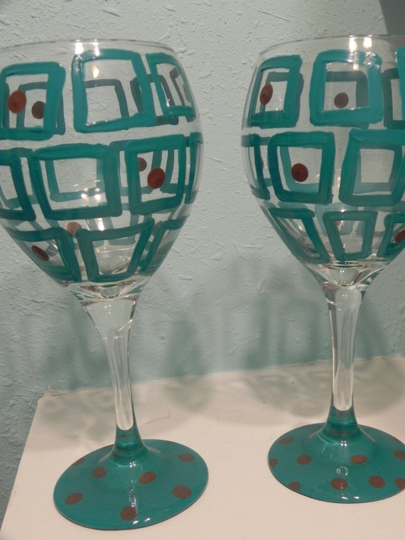 Abstract Square Design- Painted Wine Glass