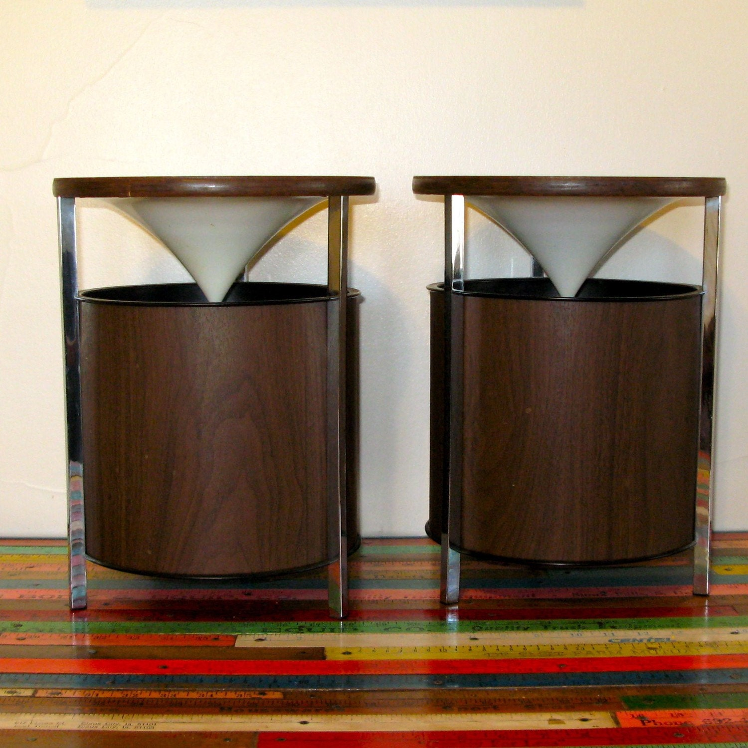 Pair Of Chrome And Wood Mid Century Modern Speakers