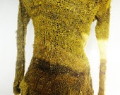 RECYCLED SARI SILK handknitted sweater in a peplum style custom dyed golden olive greens