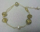 PRICE REDUCED AAA Golden Rutilated Quartz Fresh Water Pearls Bracelet Anklet