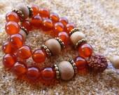 Japa Mala Carnelian, Sandalwood, Rudraksha, 27 bead