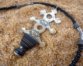Tribal Tuareg Cross pendant african necklace black silver