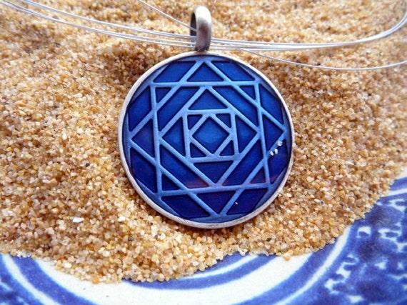 Moroccan Zellige Necklace Essaouira Chefchaouen Blue