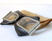 VINTAGE - Aviator / Motorcycle Leather Made Goggles - Shanghai 1972